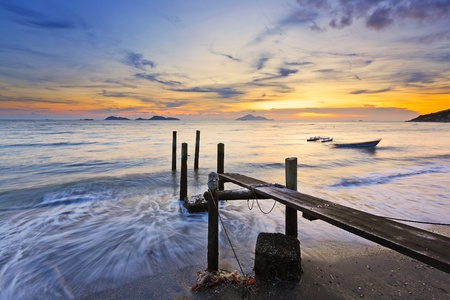 wooden dock: sunset with pier