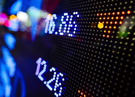 exchange rate: led display at night with stock infomation abstract