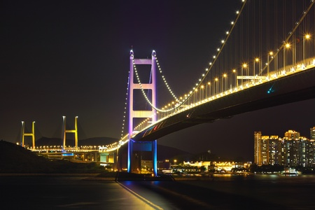 night scene of Tsing Ma bridge photo