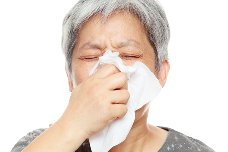 sneezing woman photo