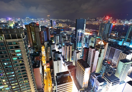 commercial district: Hong Kong downtown at night