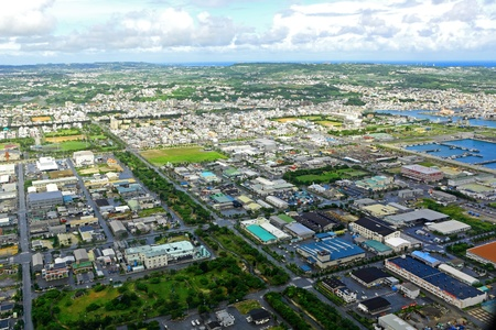 aerial: foto aerea di Okinawa in Giappone Archivio Fotografico