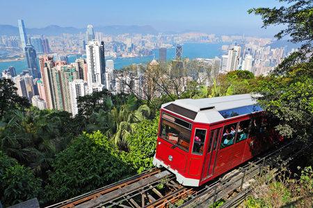 Tourist Straßenbahn an der Peak, Hong Kong