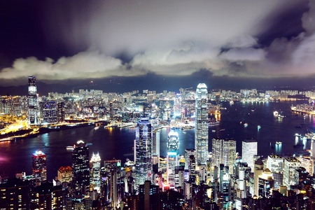 Hong Kong central district skyline and Victoria Harbour view at night photo