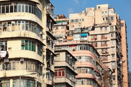slum: old apartment building in Hong Kong