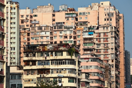 dilapidated: old apartment building in Hong Kong