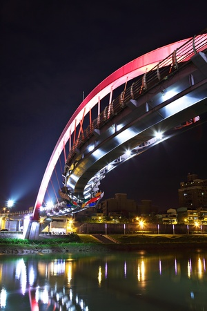 bridge at night in Taipei photo