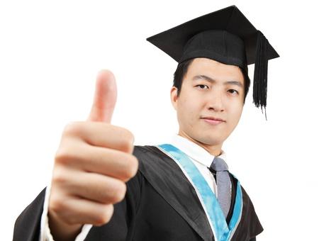licenciatura: estudiante de posgrado con el pulgar arriba Foto de archivo