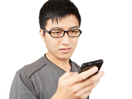 man writting SMS on mobile phone Stock Photo - 11114120