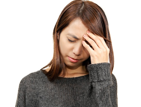 depress: woman with head ache  Stock Photo