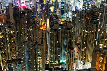 buildings at night in Hong Kong photo