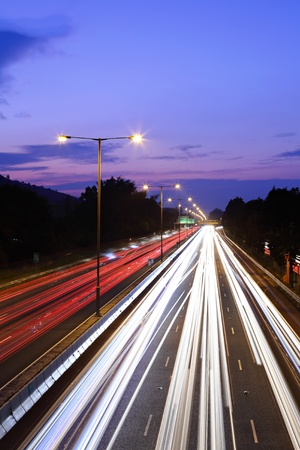 traffic on highway at night Stock Photo - 11623336