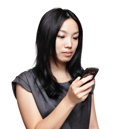 girl sms on mobile phone Stock Photo - 11623310