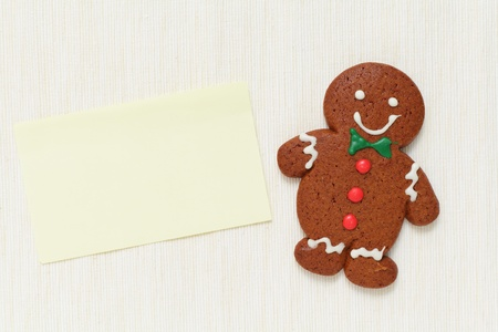 gingerbreadman: Gingerbread Man with memo paper Stock Photo