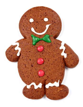 Gingerbread man cookie over white background photo