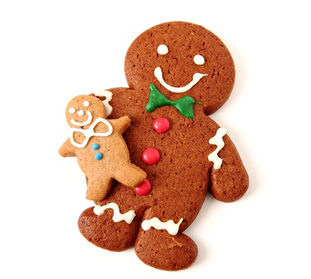 Gingerbread man cookies on white background Stock Photo - 11712155