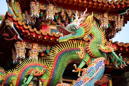 shanghai: Asian temple dragon Stock Photo
