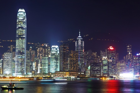 Hong Kong skyline night photo
