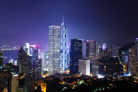 Hong Kong with crowded buildings at night photo