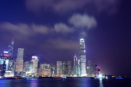 Hong Kong skyline at night photo