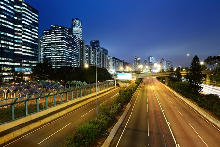 light trails in mega city highway photo