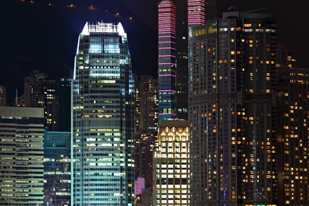 Details of business buildings at night in Hong Kong photo