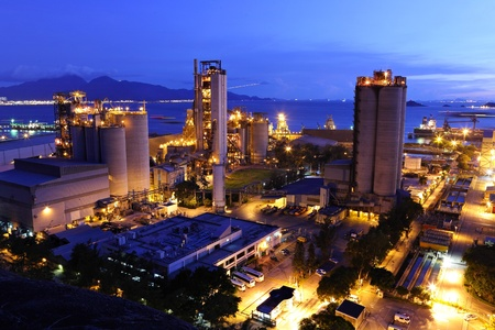 cement factory at night photo