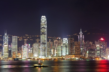 Hong Kong harbor at night photo