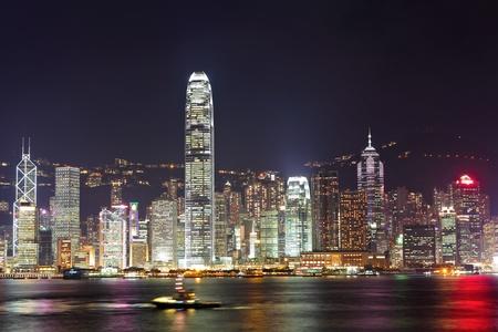 Hong Kong harbor at night photo