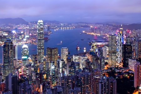 hong kong city at night photo