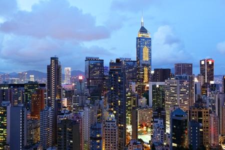 building at night in Hong Kong photo