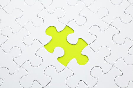 missed: Jigsaw puzzle with green piece missed