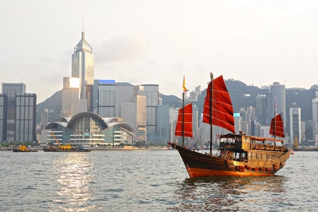 Hong Kong harbour with tourist junk Stock Photo - 12189471