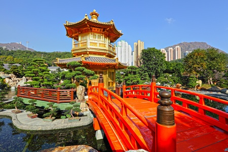 chinese pagoda: gold pavilion in chinese garden Editorial
