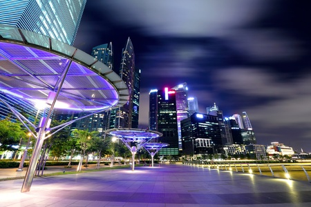 southeast asia: Singapore city skyline at night Editorial