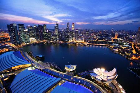 singapore city: Singapore city skyline at night Editorial