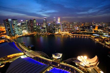 night scene: Singapore city skyline at night Editorial
