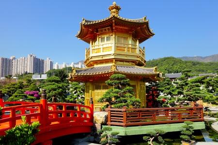 Chinese garden pavilion photo