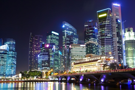 cityscape of Singapore at night