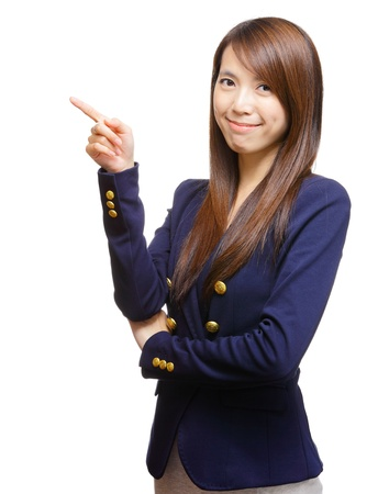 young asian woman pointing a side photo