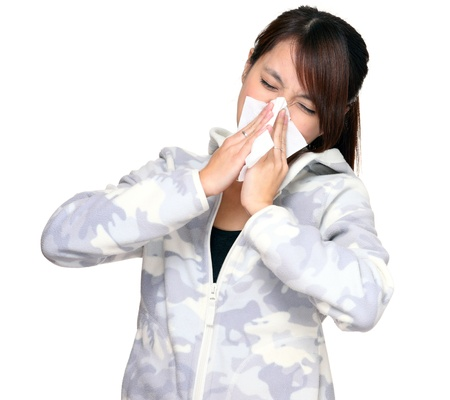 sick person: mujer de estornudar Foto de archivo