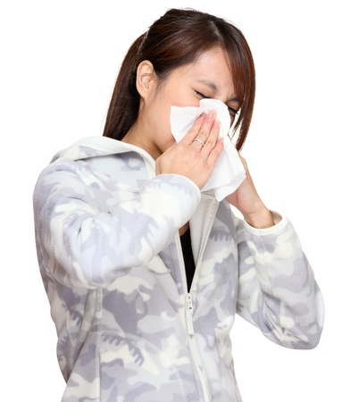 sneezing woman photo