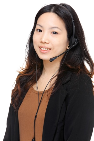 asian woman wearing headset photo