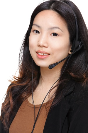 asian woman with headset photo