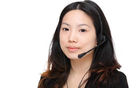 young woman with headset photo