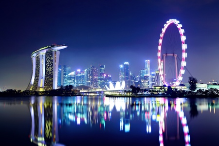 marina: Singapore city skyline at night Editorial