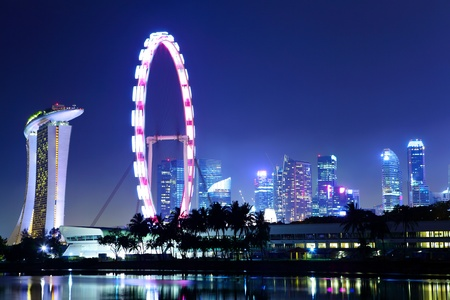 Singapore city skyline at night Stock Photo - 12877306