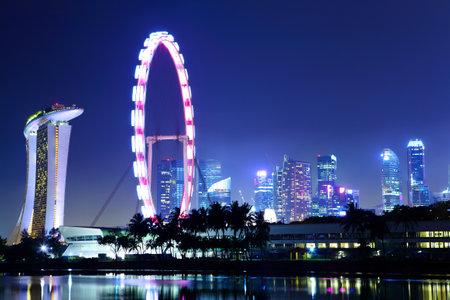 Singapore city skyline at night Stock Photo - 12877306