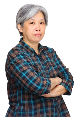 mature asian woman over white background Stock Photo - 12982246