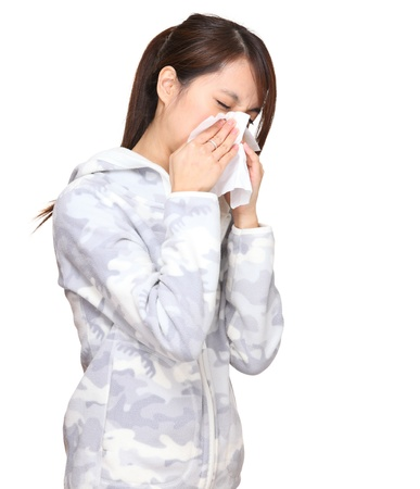 sneezing asian young woman photo